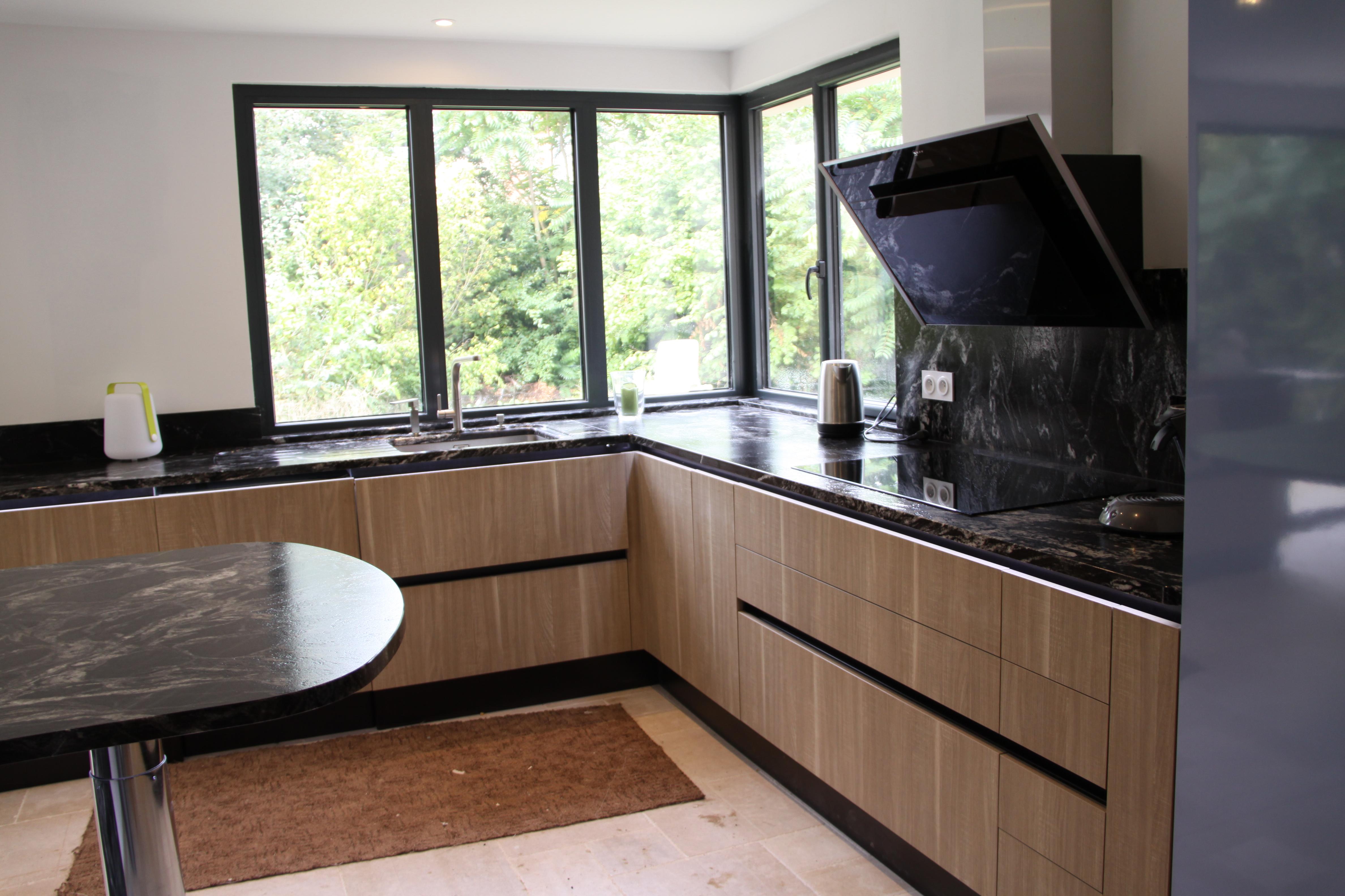 Plan De Travail Cuisine En Bois etude et réalisation cuisine avec meuble effet bois , plan